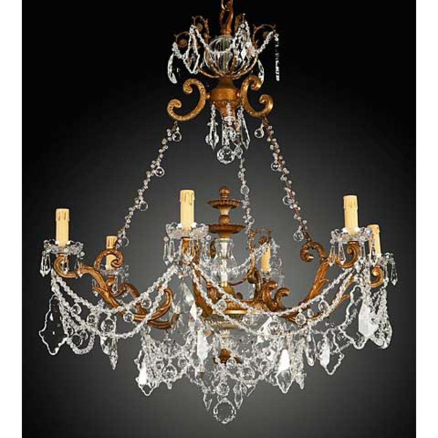 Bronze Chandelier with Crystal Swags