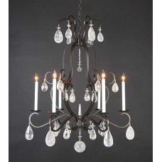 Iron Chandelier with Quartz Crystal